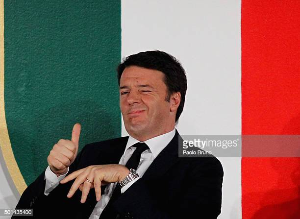 Italian Prime Minister Matteo Renzi reacts during the Italian Olympic Commitee 'Collari d'Oro' Awards ceremony on December 15 2015 in Rome Italy