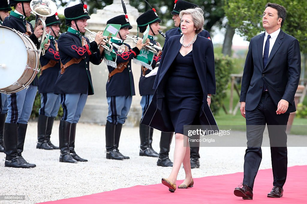 UK PM Theresa May Holds Talks With Italian PM Matteo Renzi : News Photo