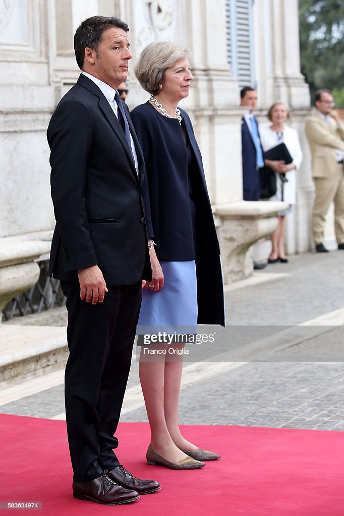 UK PM Theresa May Holds Talks With Italian PM Matteo Renzi : News Photo