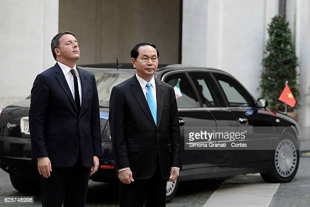 Italian Prime Minister Matteo Renzi receives the President of the Socialist Republic of Vietnam Tran Dai Quang at Palazzo Chigi on November 23 2016...