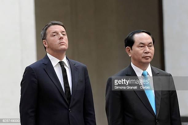 Italian Prime Minister Matteo Renzi receives the President of the Socialist Republic of Vietnam Tran Dai Quang at Palazzo Chigi on November 23 2016...