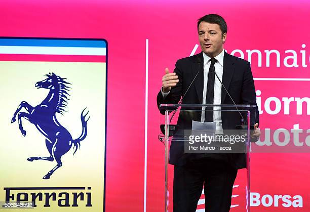 Italian Prime Minister Matteo Renzi speaks during the launch on the Borsa Italiana on January 4 2016 in Milan Italy Following the success of its...