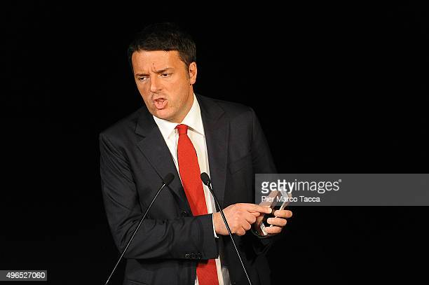 Italian Prime Minister Matteo Renzi talks during his speech at the meeting with President of Lombardy on November 10 2015 in Milan Italy The Italian...