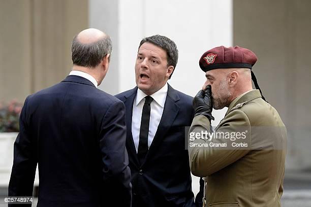 Italian Prime Minister Matteo Renzi waits to receive the President of the Socialist Republic of Vietnam Tran Dai Quang at Palazzo Chigion November 23...