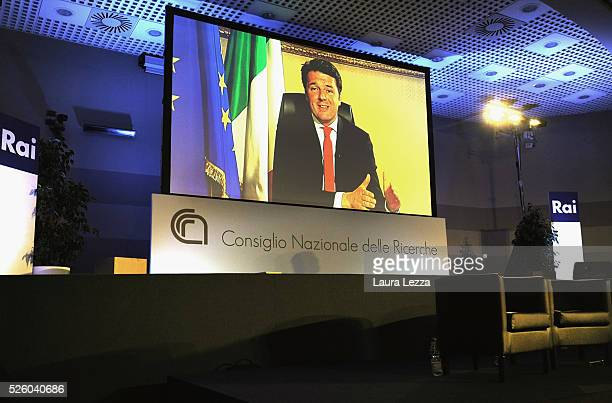 Italian Prime Minister Matteo Renzi who was expected at the celebration of the 30th anniversary of Internet in Italy speaks via Skype at the CNR of...