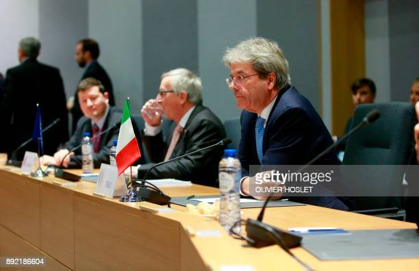 Italian Prime Minister Paolo Gentiloni and European commission President JeanClaude Juncker attend a Visegrad group meeting in Brussels on December...