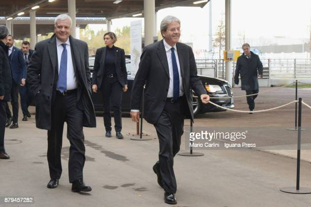 Italian Prime Minister Paolo Gentiloni and Gianluca Galletti italian Minister for agricolture and ambient attends the FICO Eataly World Agri Food...
