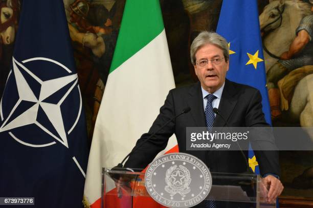 Italian Prime Minister Paolo Gentiloni and NATO Secretary General Jens Stoltenberg hold a press conference after their bilateral meeting at Chigi...