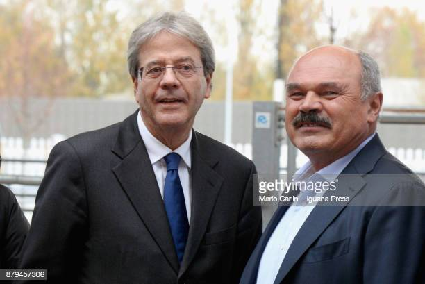 Italian Prime Minister Paolo Gentiloni and Oscar Farinetti President of Eataly attends the FICO Eataly World Agri Food park Opening Day on November...