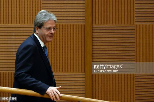 Italian Prime Minister Paolo Gentiloni arrives to give the endofyear press conference at 'Auletta' of the parliamentary groups of the Chamber of...