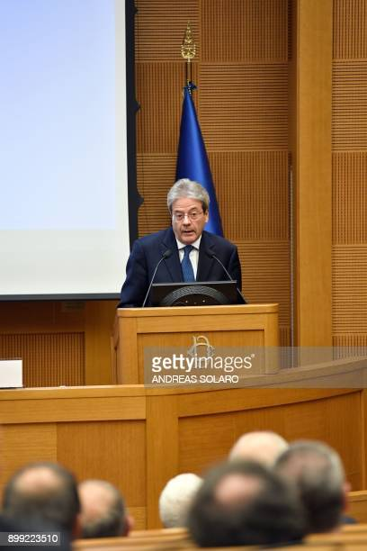 Italian Prime Minister Paolo Gentiloni delivers a speech during the endofyear press conference at 'Auletta' of the parliamentary groups of the...