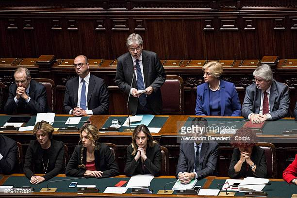 Italian Prime Minister Paolo Gentiloni delivers his speech ahead of a confidence vote on his coalition government at the Italian Chamber Of Deputies...