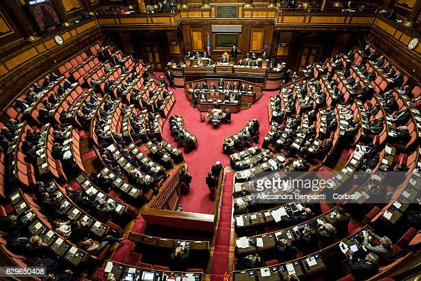 Italian Prime Minister Paolo Gentiloni delivers his speech during a confidence vote at the Italian Senate on December 14 2016 in Rome Italy