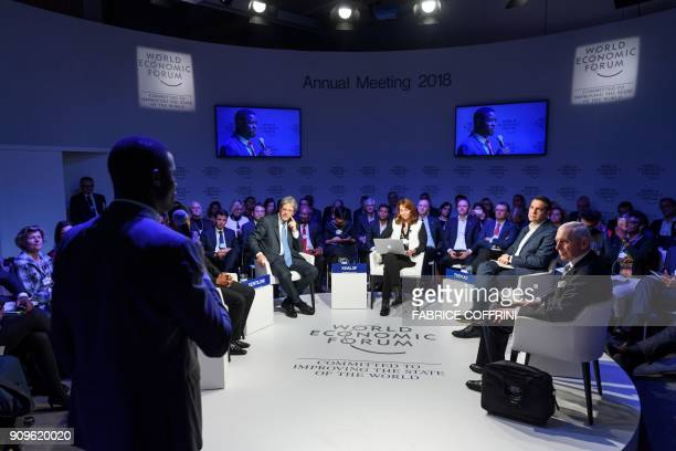 Italian Prime Minister Paolo Gentiloni Financial Times Deputy Editor Roula Khalaf Greek Prime Minister Alexis Tsipras and Organization for Migration...