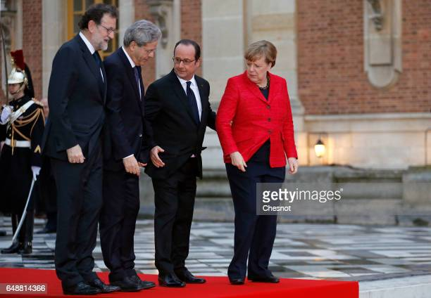 Italian Prime Minister Paolo Gentiloni German Chancellor Angela Merkel French President Francois Hollande and Spanish Prime Minister Mariano Rajoy...
