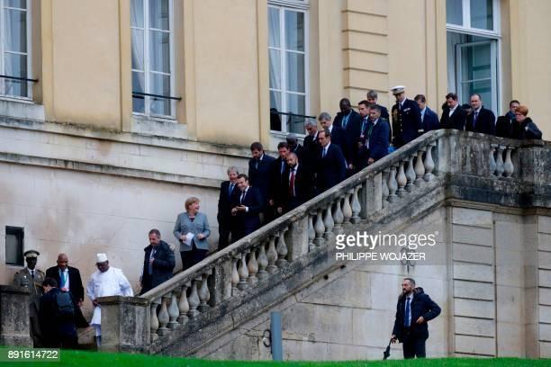 Italian Prime Minister Paolo Gentiloni German Chancellor Angela Merkel France's President Emmanuel Macron and Mali'sPresident Ibrahim BoubacarKeita...