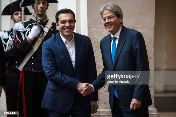 Italian Prime Minister Paolo Gentiloni greets Greek Prime Minister Alexis Tsipras before a bilateral meeting ahead of the 4th summit of Southern...