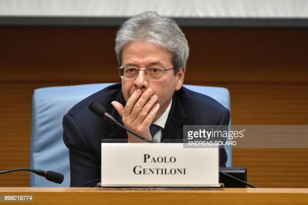 Italian Prime Minister Paolo Gentiloni reacts during the endofyear press conference at 'Auletta' of the parliamentary groups of the Chamber of...