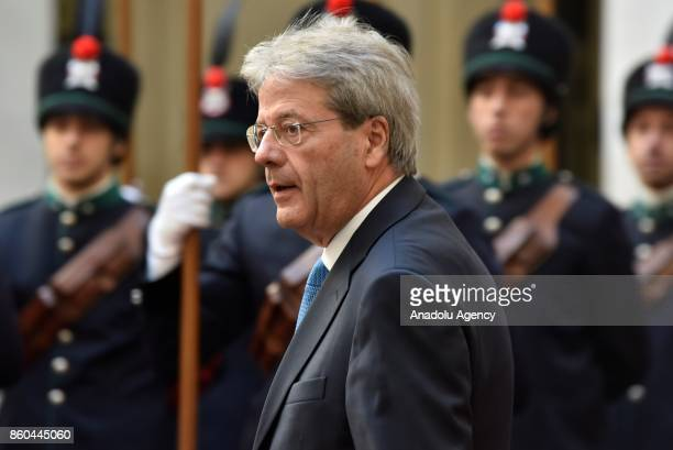 Italian Prime Minister Paolo Gentiloni waits for the President of European Council Donald Tusk at Palazzo Chigi in Rome Italy on October 12 2017