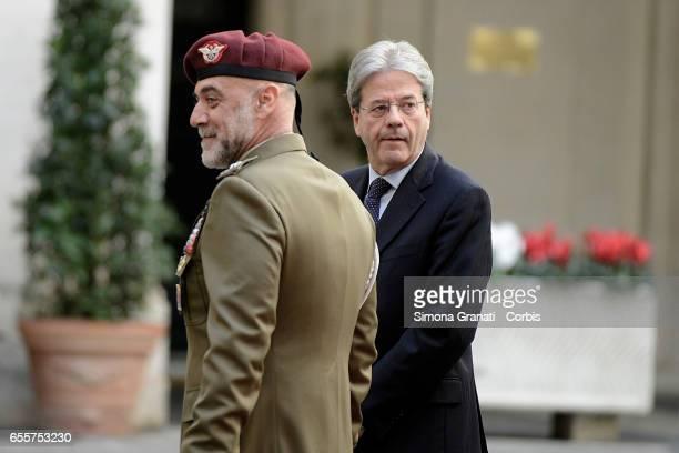 Italian Prime Minister Paolo Gentiloni waits to receive Libyan Prime Minister Fayez al-Sarraj at Palazzo Chigi on March 20, 2017 in Rome, Italy.
