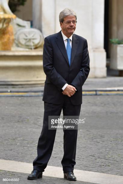 Italian Prime Minister Paolo Gentiloni waits to welcome President of European Council Donald Tusk at Palazzo Chigi in Rome Italy on October 12 2017