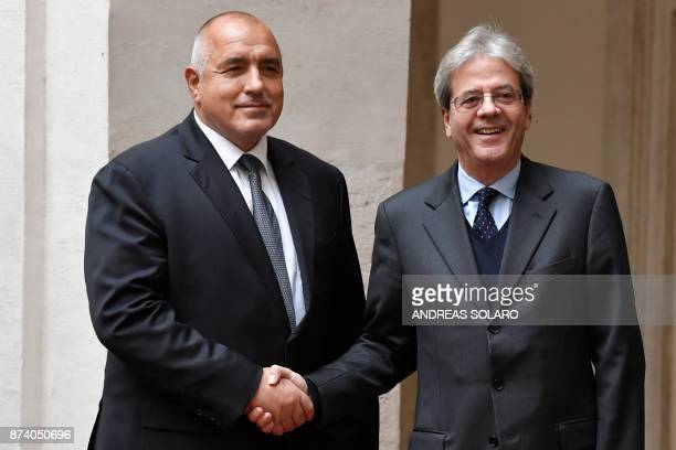 Italian Prime Minister Paolo Gentiloni welcomes Bulgaria's counterpart Boyko Borisov before their meeting at Palazzo Chigi in Rome on November 14...