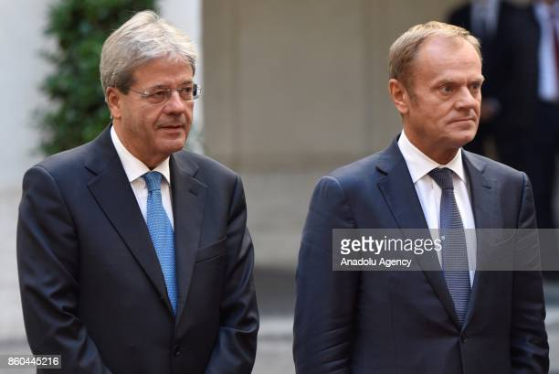 Italian Prime Minister Paolo Gentiloni welcomes President of European Council Donald Tusk with an welcoming ceremony at Palazzo Chigi in Rome Italy...