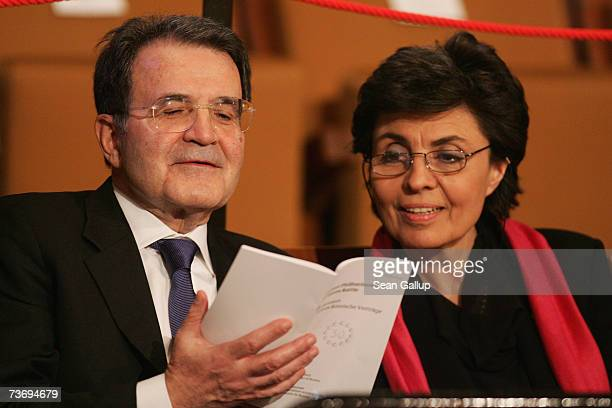 Italian Prime Minister Romano Prodi and his wife Flavia Franzoni attend a concert at the Philharmonic March 24 2007 in Berlin Germany European Union...