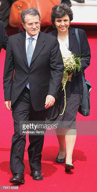 Italian Prime Minister Romano Prodi and his wife Flavia Franzoni arrive at the airport on June 6 2007 in RostockLaage Germany Prodi along with...