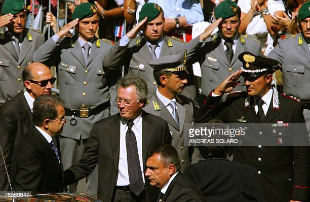 Italian Prime Minister Romano Prodi arrives at Modena's Romanesque cathedral 08 September 2007 before the funeral mass in tribute to Italy's opera...