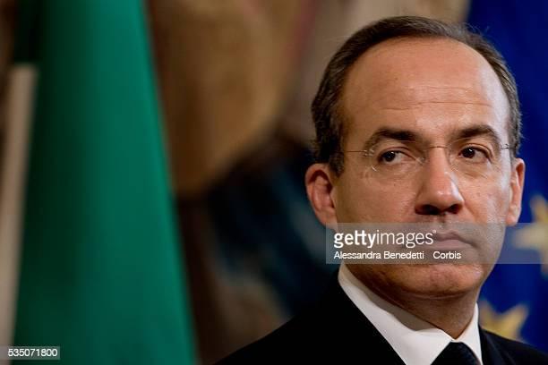 Italian Prime Minister Romano Prodi attends a joint press conference with President of Mexico Felipe Calderon, at Chigi Palace.