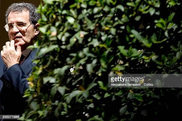 Italian Prime Minister Romano Prodi awaits the arrival of President of Mexico Felipe Calderon at Chigi Palace for a meeting.