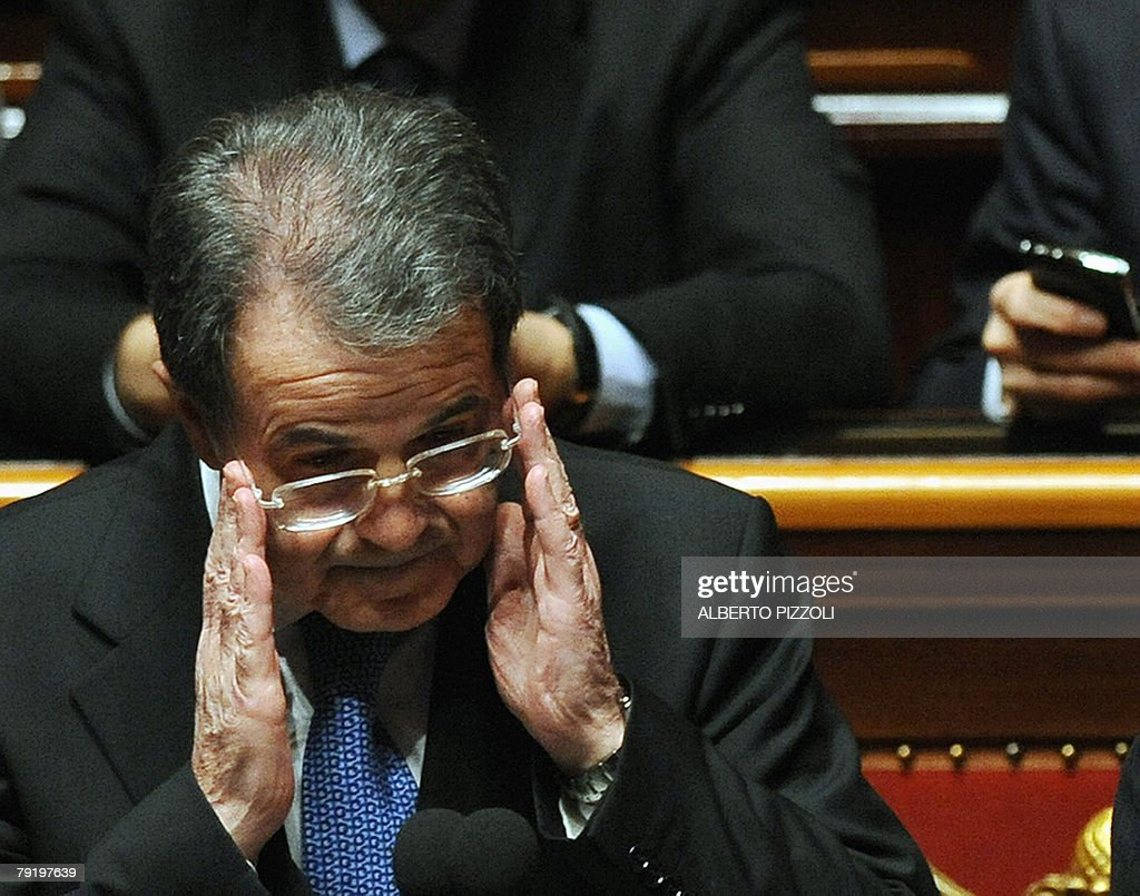 Italian Prime Minister Romano Prodi gestures at the Senate in Rome 24 January 2008. Italian Prime Minister Romano Prodi put his political survival on the line, calling for a vote of confidence in his centre-left government after 20 months in power. The crisis was sparked by the withdrawal of the Catholic UDEUR party.