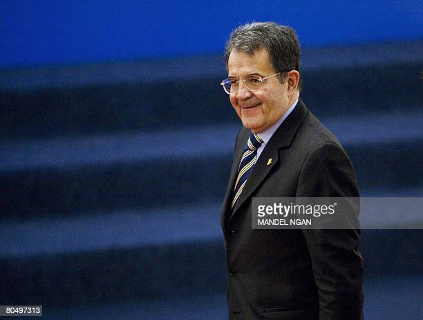 Italian Prime Minister Romano Prodi smiles as he arrives at the Parliament in Bucharest on April 3 2008 to attend a formal working session on the...