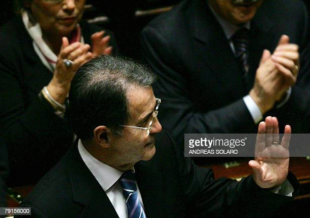 Italian Prime Minister Romano Prodi waves to his majority after his speech before the lower house of the parliament in Rome 22 January 2008 Prodi...