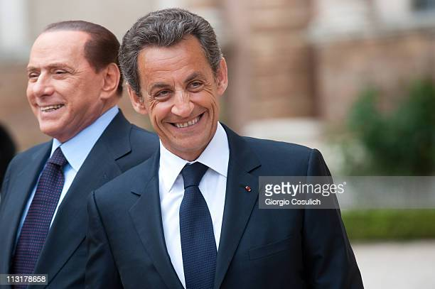 Italian Prime Minister Silvio Berlusconi and French President Nicolas Sarkozy arrive at Villa Madama for the ItalyFrance Summit on April 26 2011 in...