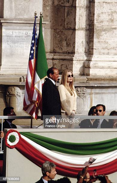 Italian Prime Minister Silvio Berlusconi and his second wife Veronica Lario at the Campidoglio city hall during an official visit of the US President...