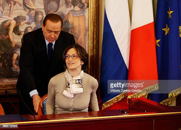 Italian Prime Minister Silvio Berlusconi and Italian Education Minister Maria Stella Gelmini attends a press conference held at Villa Gernetto on...