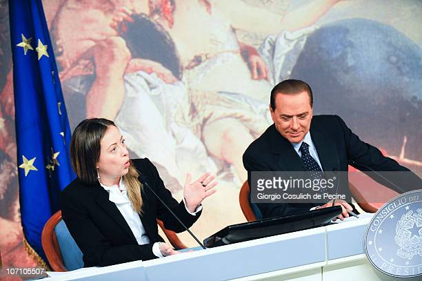 Italian Prime Minister Silvio Berlusconi and Minister of the Youth Giorgia Meloni attend a press conference to present new government measures for...
