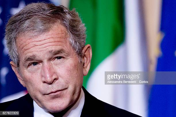 Italian Prime Minister Silvio Berlusconi and Us president George W Bush during a joint pressconference at Palazzo Madama The Us President is doing...