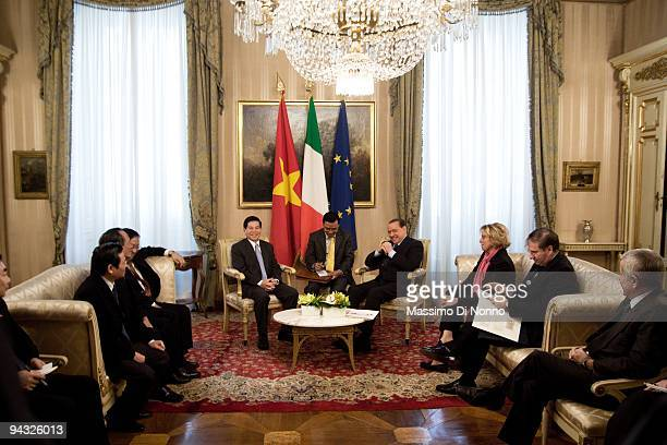 Italian Prime Minister Silvio Berlusconi and Vietnamese President Nguyen Minh Triet on December 11 2009 in Milan Italy The two countries met for...