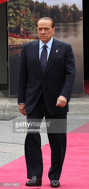 Italian Prime Minister Silvio Berlusconi arrives at a welcoming ceremony at the G8 summit at the Deerhurst Resort at Muskoka June 25 2010 in...