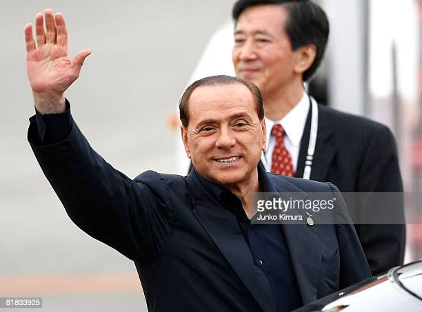 Italian Prime Minister Silvio Berlusconi arrives at New Chitose Airport to participate in the G8 Hokkaido Toyako Summit on July 6 2008 in Chitose...