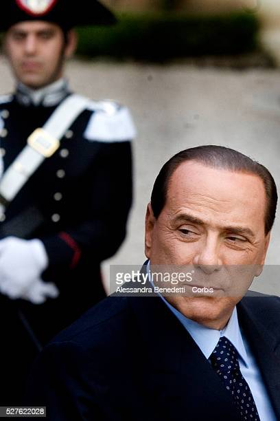 Italian Prime Minister Silvio Berlusconi arrives at Palazzo Madama for a meeting with President of United states of America George W Bush The Us...