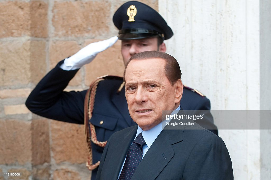Italian Prime Minister Silvio Berlusconi arrives at Villa Madama for the Italy-France Summit with French President Nicolas Sarkozy on April 26, 2011 in Rome, Italy. The two leaders discussed the immigration crisis and the possible opening of nuclear power plants among other topics during the Italy-France summit.