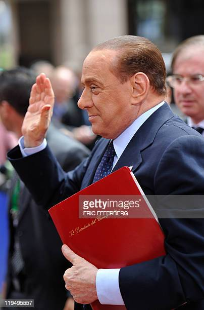 Italian Prime Minister Silvio Berlusconi arrives for the EU summit on July 21 2010 at the European Council headquarters in BrusselsEurozone leaders...