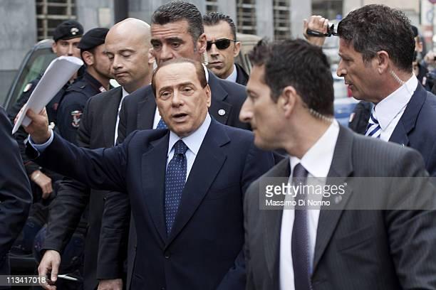 Italian Prime Minister Silvio Berlusconi arrives to the Palazzo Di Giustizia for a legal hearing for the Mediatrade case on May 2 2011 in Milan Italy...