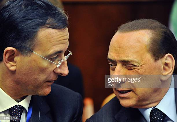 Italian Prime Minister Silvio Berlusconi attends a Joint Government meeting at Benjamin Netanyahu's office on February 2 2010 in Jerusalem Israel...