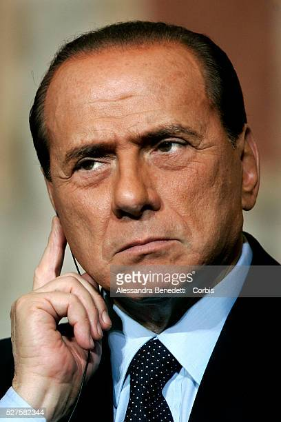 Italian Prime Minister Silvio Berlusconi attends a press conference at the end of the intergovernmental meeting with Spanish government...