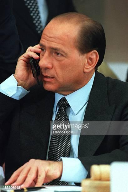 Italian Prime Minister Silvio Berlusconi attends a UN world ministerial conference on organized transnational crime on November 22, 1994 in Naples,...